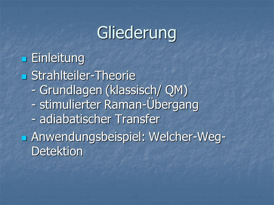 Gliederung Einleitung Einleitung Strahlteiler-Theorie - Grundlagen (klassisch/ QM) - stimulierter Raman-Übergang - adiabatischer Transfer Strahlteiler