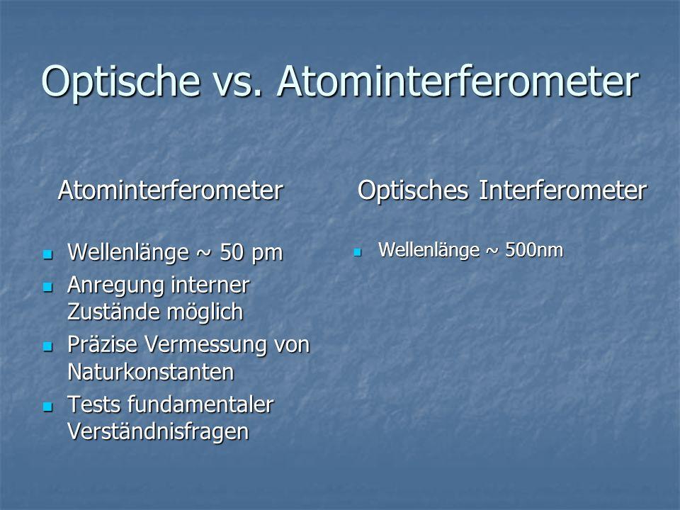Optische vs. Atominterferometer Wellenlänge ~ 50 pm Wellenlänge ~ 50 pm Anregung interner Zustände möglich Anregung interner Zustände möglich Präzise