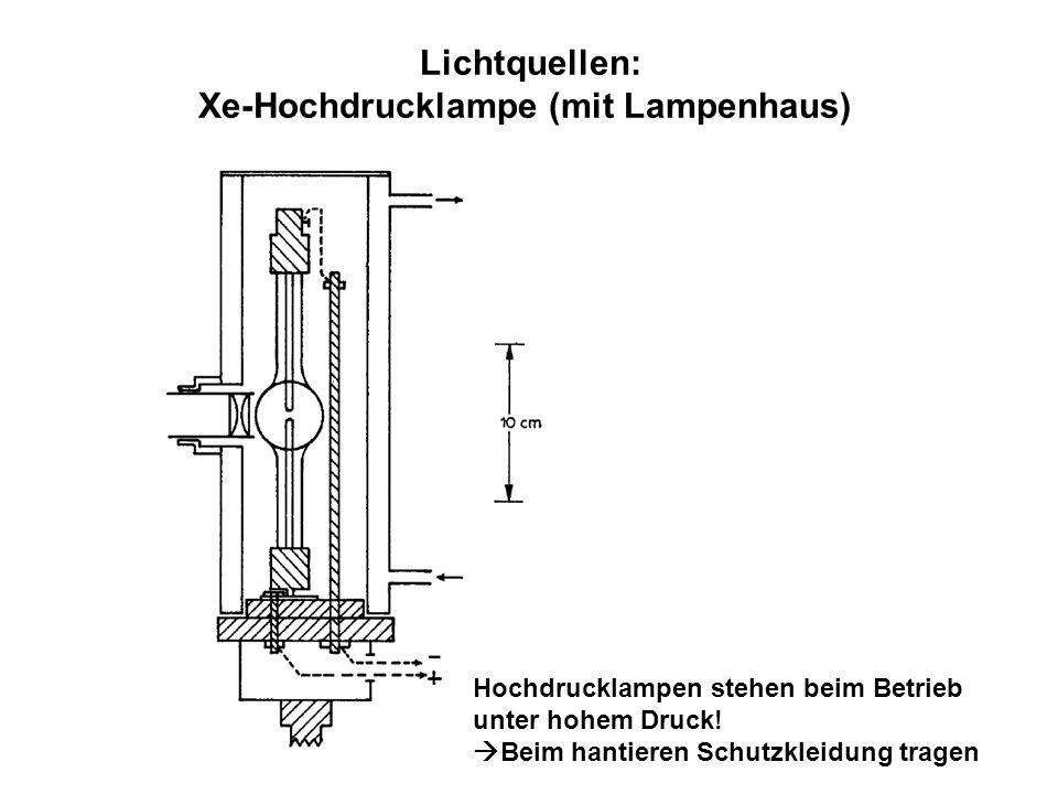 Lichtquellen: Xe-Hochdrucklampe (mit Lampenhaus) Hochdrucklampen stehen beim Betrieb unter hohem Druck! Beim hantieren Schutzkleidung tragen