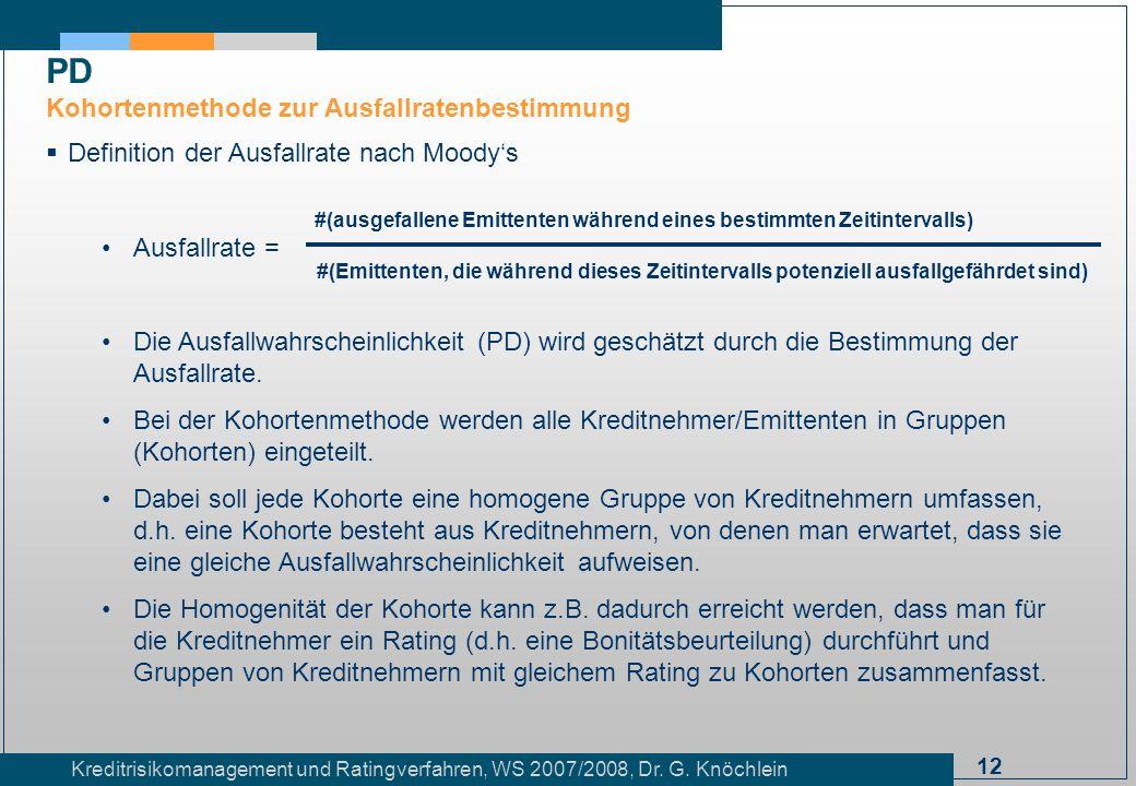 12 Kreditrisikomanagement und Ratingverfahren, WS 2007/2008, Dr. G. Knöchlein Definition der Ausfallrate nach Moodys Ausfallrate = Die Ausfallwahrsche