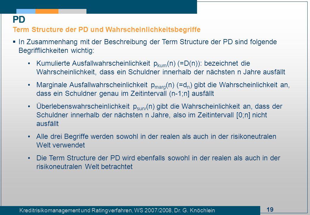 19 Kreditrisikomanagement und Ratingverfahren, WS 2007/2008, Dr. G. Knöchlein In Zusammenhang mit der Beschreibung der Term Structure der PD sind folg