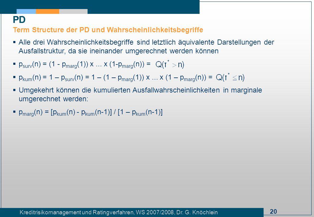 20 Kreditrisikomanagement und Ratingverfahren, WS 2007/2008, Dr. G. Knöchlein Alle drei Wahrscheinlichkeitsbegriffe sind letztlich äquivalente Darstel