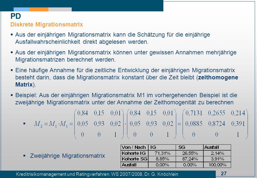27 Kreditrisikomanagement und Ratingverfahren, WS 2007/2008, Dr. G. Knöchlein Aus der einjährigen Migrationsmatrix kann die Schätzung für die einjähri
