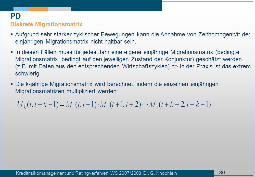 30 Kreditrisikomanagement und Ratingverfahren, WS 2007/2008, Dr. G. Knöchlein Aufgrund sehr starker zyklischer Bewegungen kann die Annahme von Zeithom