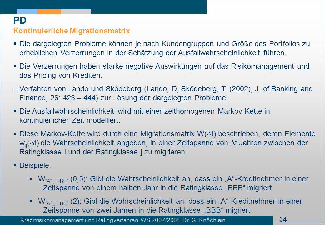 34 Kreditrisikomanagement und Ratingverfahren, WS 2007/2008, Dr. G. Knöchlein Die dargelegten Probleme können je nach Kundengruppen und Größe des Port