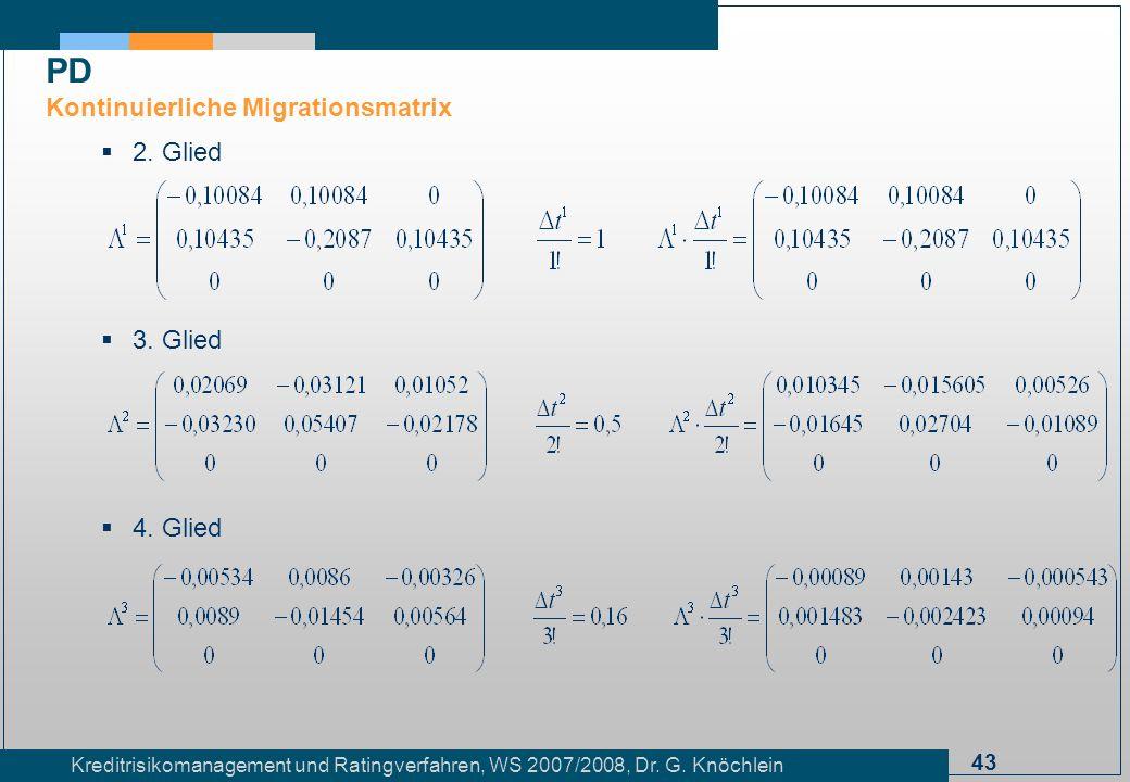 43 Kreditrisikomanagement und Ratingverfahren, WS 2007/2008, Dr. G. Knöchlein 2. Glied 3. Glied 4. Glied PD Kontinuierliche Migrationsmatrix
