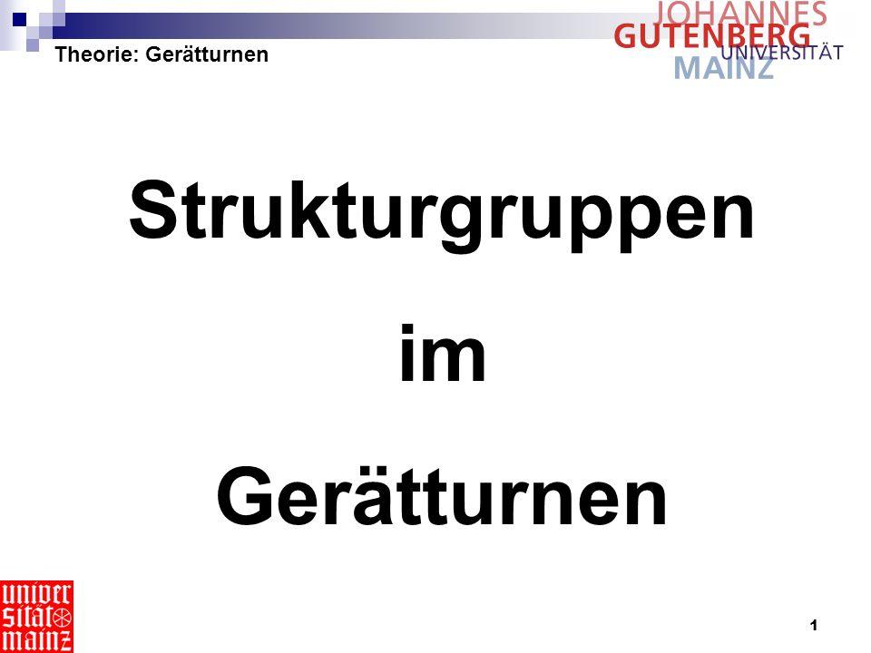 1 Theorie: Gerätturnen Strukturgruppen im Gerätturnen