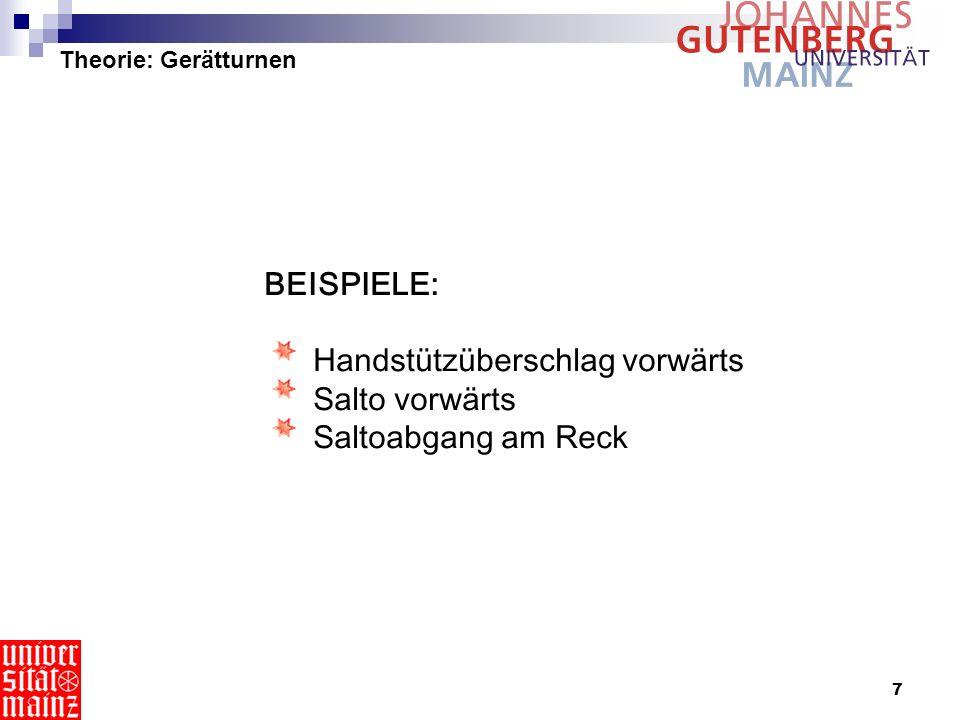8 Theorie: Gerätturnen Handstützüberschlag http://gymnet.org/ Salto vw http://gymnet.org/ Flic-Flac + Salto 1/1 http://gymnet.org/ Flic-Flac + Doppelsalto http://gymnet.org/ Flic-Flac http://www.sportunterricht.de freies Rad http://www.dtb-online.de Überschlag + Salto http://gymnet.org/ Salto vw http://perso.wanadoo.fr/ bernard.lefort/gym/imagegym.