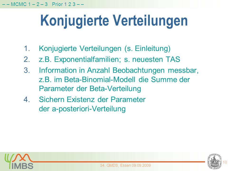 Konjugierte Verteilungen 1.Konjugierte Verteilungen (s. Einleitung) 2.z.B. Exponentialfamilien; s. neuesten TAS 3.Information in Anzahl Beobachtungen