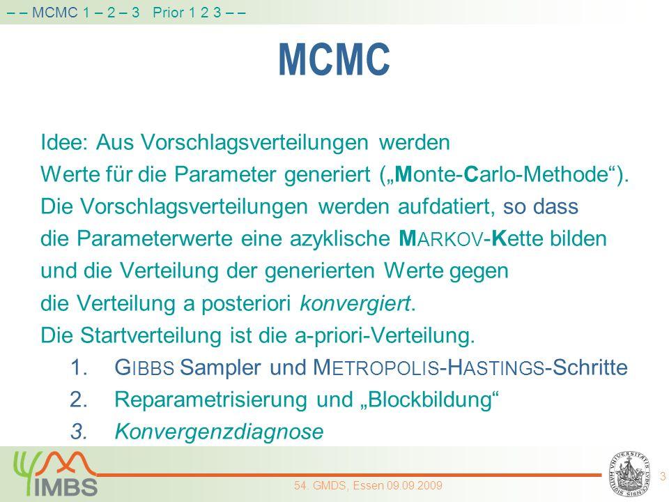 MCMC Idee: Aus Vorschlagsverteilungen werden Werte für die Parameter generiert (Monte-Carlo-Methode). Die Vorschlagsverteilungen werden aufdatiert, so