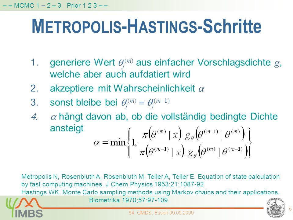 M ETROPOLIS -H ASTINGS -Schritte 1.generiere Wert j (m) aus einfacher Vorschlagsdichte g, welche aber auch aufdatiert wird 2.akzeptiere mit Wahrschein