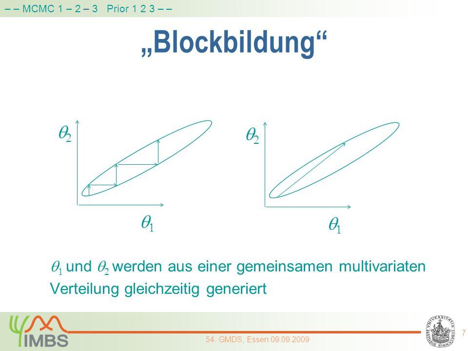 Blockbildung und werden aus einer gemeinsamen multivariaten Verteilung gleichzeitig generiert 7 54. GMDS, Essen 09.09.2009 – – MCMC 1 – 2 – 3 Prior 1