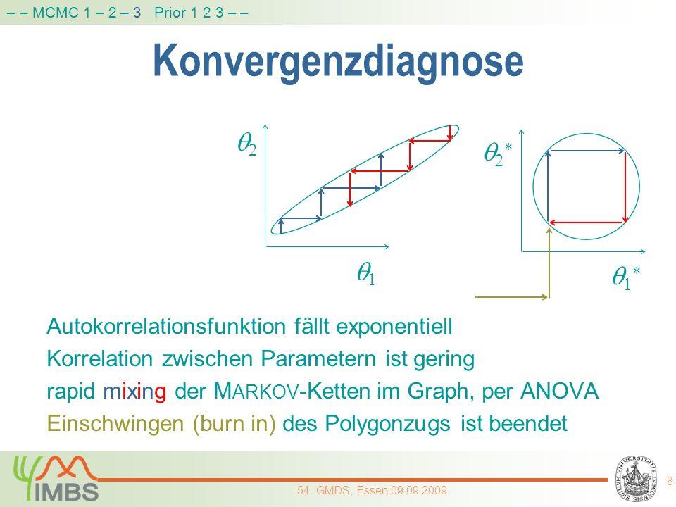 Konvergenzdiagnose Autokorrelationsfunktion fällt exponentiell Korrelation zwischen Parametern ist gering rapid mixing der M ARKOV -Ketten im Graph, p