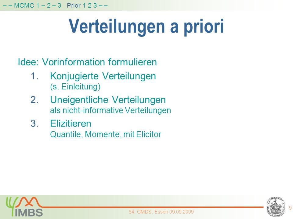 Verteilungen a priori Idee: Vorinformation formulieren 1.Konjugierte Verteilungen (s. Einleitung) 2.Uneigentliche Verteilungen als nicht-informative V