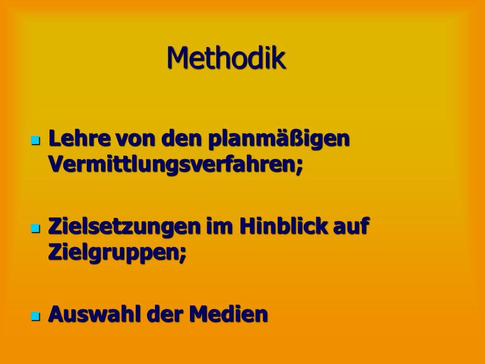 Methodik Lehre von den planmäßigen Vermittlungsverfahren; Lehre von den planmäßigen Vermittlungsverfahren; Zielsetzungen im Hinblick auf Zielgruppen;