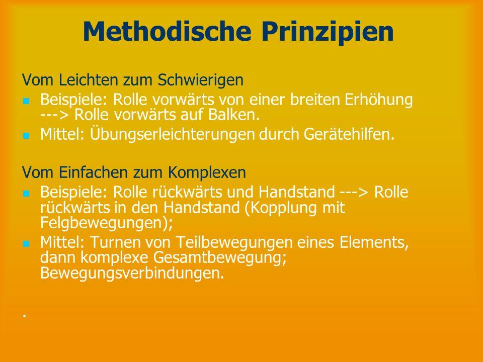 Methodische Prinzipien Vom Leichten zum Schwierigen Beispiele: Rolle vorwärts von einer breiten Erhöhung ---> Rolle vorwärts auf Balken. Mittel: Übung