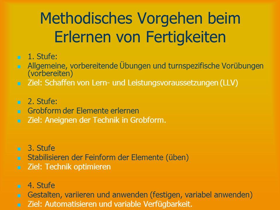 Methodisches Vorgehen beim Erlernen von Fertigkeiten 1. Stufe: Allgemeine, vorbereitende Übungen und turnspezifische Vorübungen (vorbereiten) Ziel: Sc
