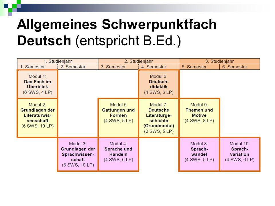 Allgemeines Schwerpunktfach Deutsch (entspricht B.Ed.)