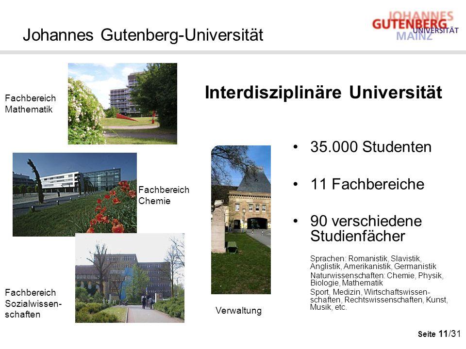 Seite 11/31 Johannes Gutenberg-Universität 35.000 Studenten 11 Fachbereiche 90 verschiedene Studienfächer Sprachen: Romanistik, Slavistik, Anglistik,