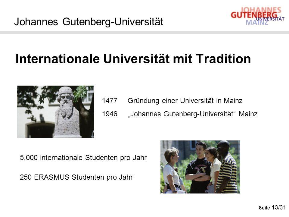 Seite 13/31 Johannes Gutenberg-Universität Internationale Universität mit Tradition 1477 Gründung einer Universität in Mainz 1946 Johannes Gutenberg-U