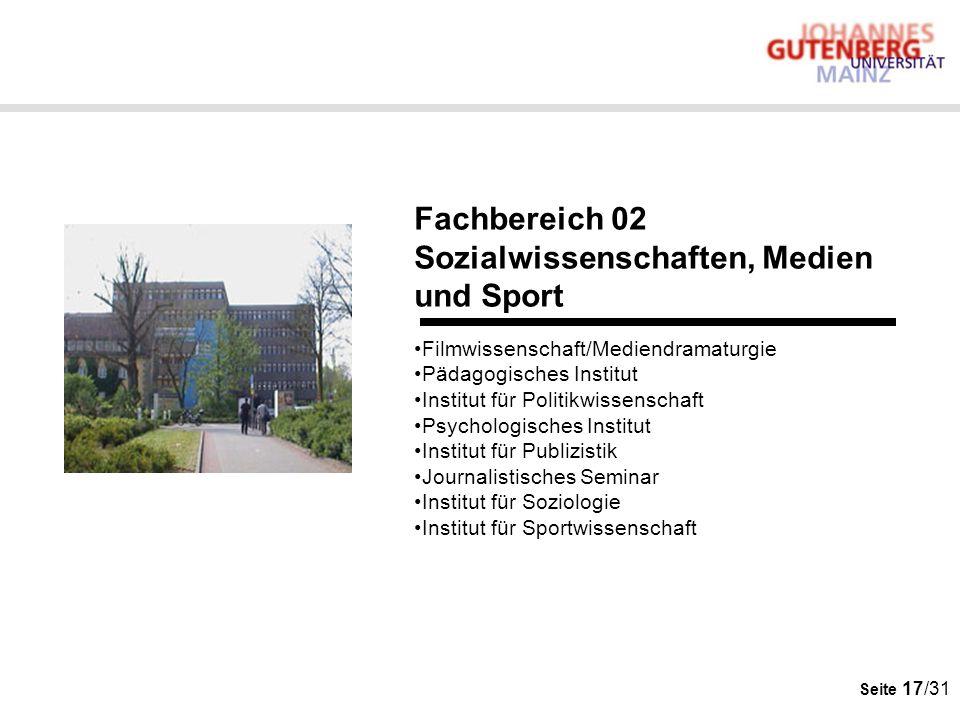 Seite 17/31 Fachbereich 02 Sozialwissenschaften, Medien und Sport Filmwissenschaft/Mediendramaturgie Pädagogisches Institut Institut für Politikwissen