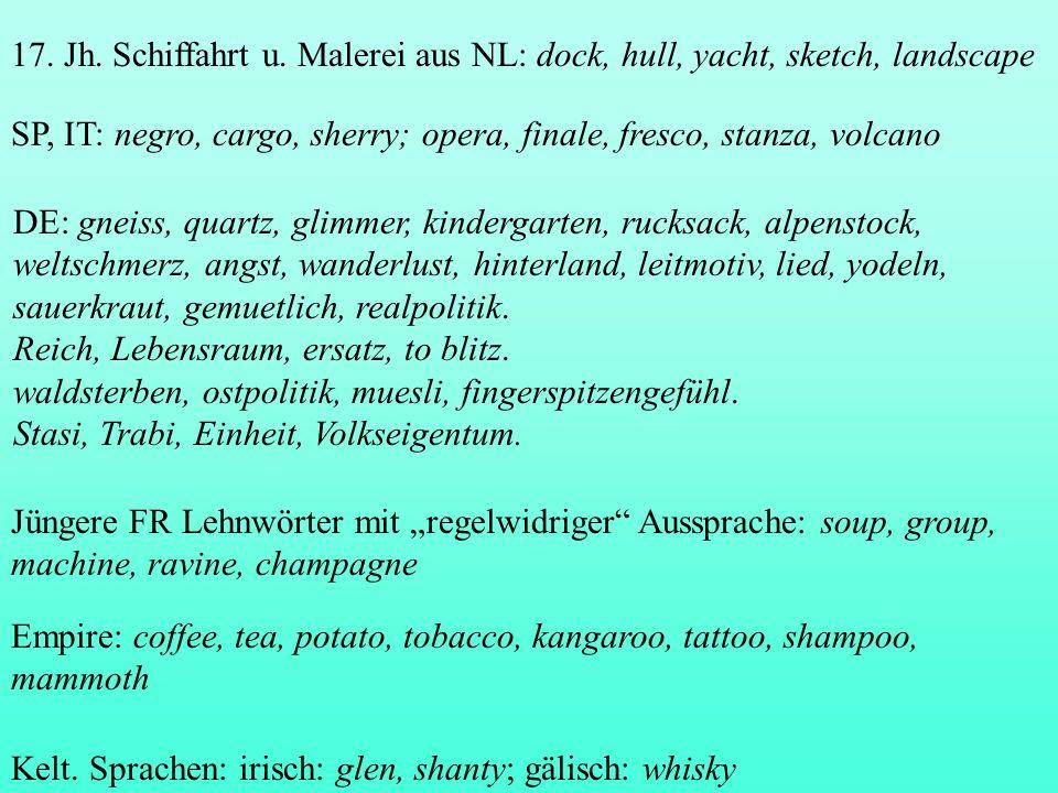 17. Jh. Schiffahrt u. Malerei aus NL: dock, hull, yacht, sketch, landscape SP, IT: negro, cargo, sherry; opera, finale, fresco, stanza, volcano DE: gn