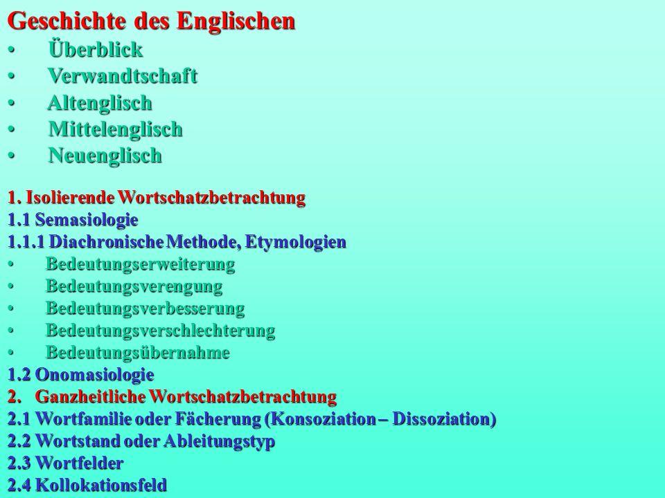 1. Isolierende Wortschatzbetrachtung 1.1 Semasiologie 1.1.1 Diachronische Methode, Etymologien Bedeutungserweiterung Bedeutungserweiterung Bedeutungsv