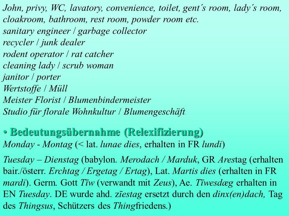 Bedeutungsübernahme (Relexifizierung) Bedeutungsübernahme (Relexifizierung) Monday - Montag (< lat. lunae dies, erhalten in FR lundi) Tuesday – Dienst