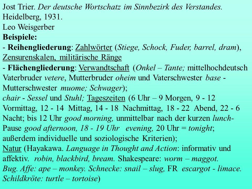 Jost Trier. Der deutsche Wortschatz im Sinnbezirk des Verstandes. Heidelberg, 1931. Leo Weisgerber Beispiele: - Reihengliederung: Zahlwörter (Stiege,