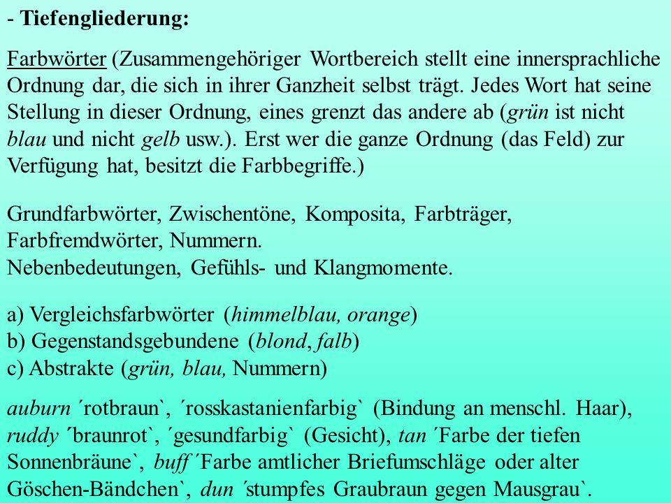 - Tiefengliederung: Farbwörter (Zusammengehöriger Wortbereich stellt eine innersprachliche Ordnung dar, die sich in ihrer Ganzheit selbst trägt. Jedes