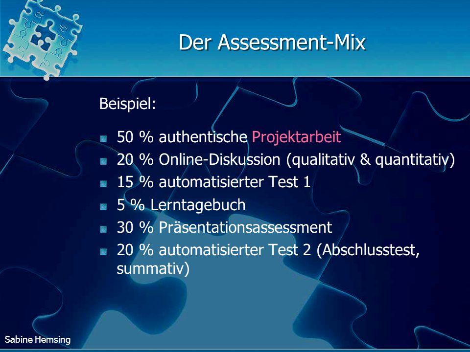 Sabine Hemsing Der Assessment-Mix Beispiel: 50 % authentische Projektarbeit 20 % Online-Diskussion (qualitativ & quantitativ) 15 % automatisierter Tes