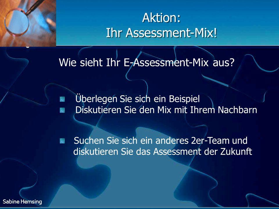 Sabine Hemsing Überlegen Sie sich ein Beispiel Diskutieren Sie den Mix mit Ihrem Nachbarn Wie sieht Ihr E-Assessment-Mix aus? Aktion: Ihr Assessment-M