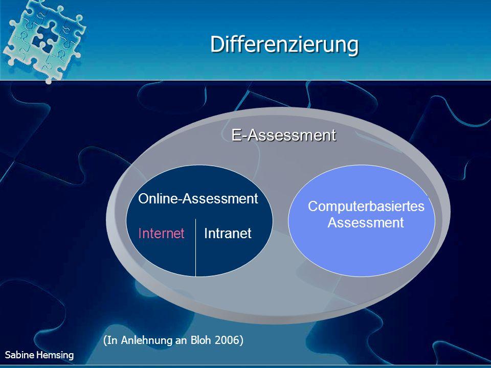 Sabine Hemsing Differenzierung E-Assessment Computerbasiertes Assessment Online-Assessment InternetIntranet (In Anlehnung an Bloh 2006)