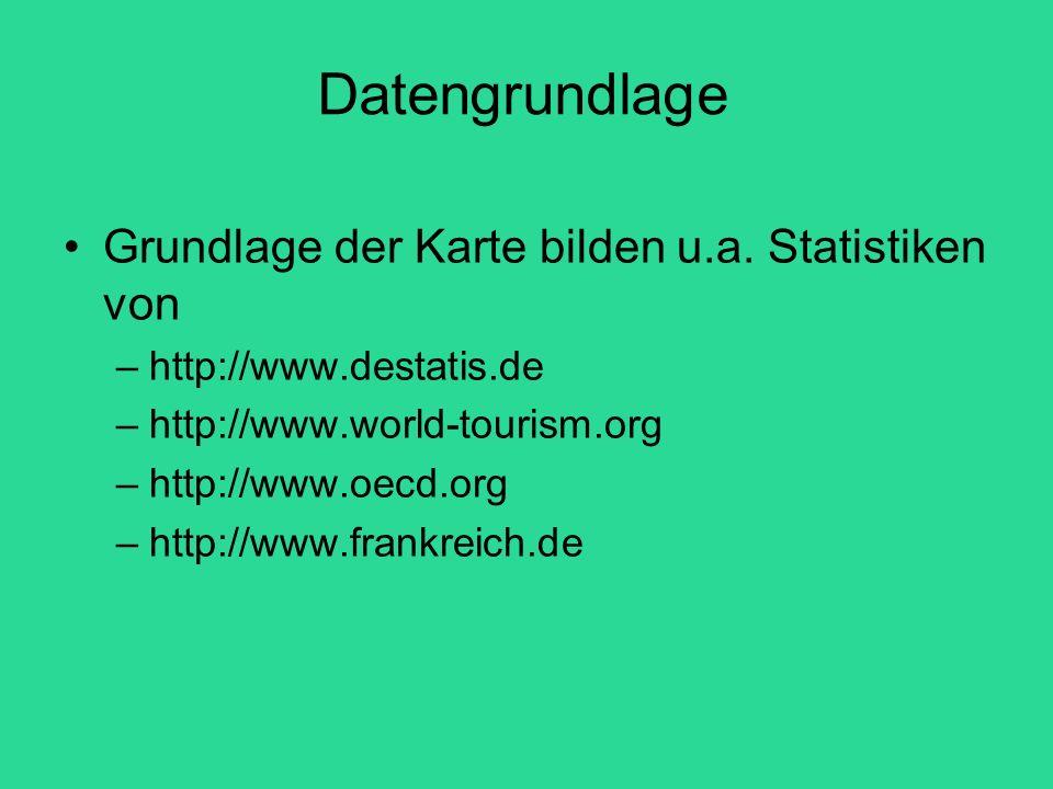 Datengrundlage Grundlage der Karte bilden u.a. Statistiken von –http://www.destatis.de –http://www.world-tourism.org –http://www.oecd.org –http://www.