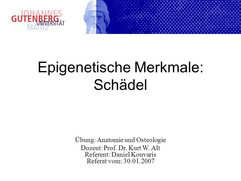 Epigenetische Merkmale: Schädel Übung: Anatomie und Osteologie Dozent: Prof. Dr. Kurt W. Alt Referent: Daniel Kouvaris Referat vom: 30.01.2007