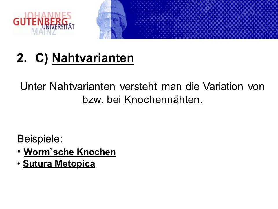 2.C) Nahtvarianten Unter Nahtvarianten versteht man die Variation von bzw.