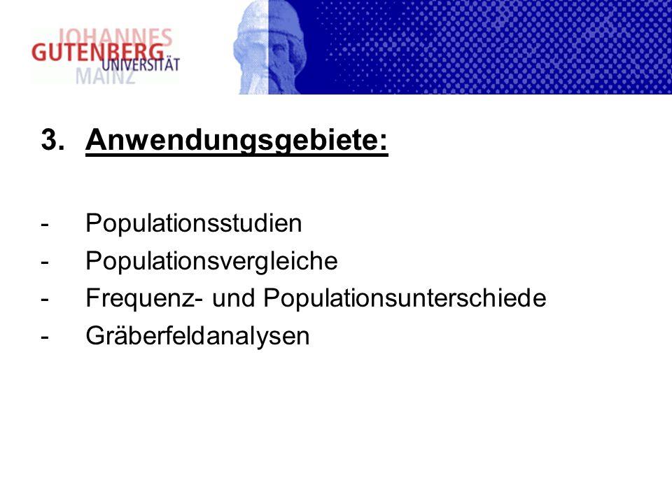 3.Anwendungsgebiete: -Populationsstudien -Populationsvergleiche -Frequenz- und Populationsunterschiede -Gräberfeldanalysen