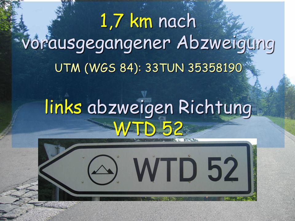 Int. Höhensymposium Lenzenkaser 16. bis 19. Aug. 2007 1,7 km nach vorausgegangener Abzweigung UTM (WGS 84): 33TUN 35358190 links abzweigen Richtung WT