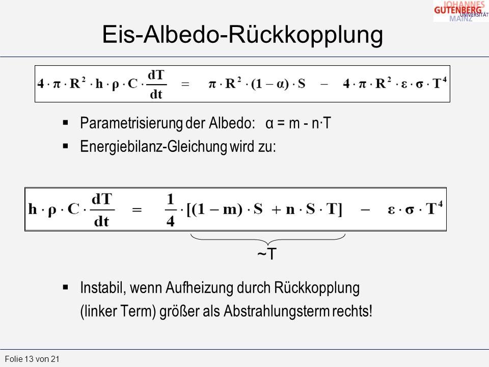 Folie 13 von 21 Eis-Albedo-Rückkopplung Parametrisierung der Albedo: α = m - nT Energiebilanz-Gleichung wird zu: Instabil, wenn Aufheizung durch Rückkopplung (linker Term) größer als Abstrahlungsterm rechts.