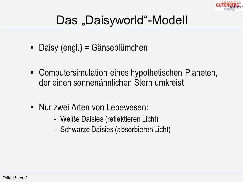 Folie 16 von 21 Das Daisyworld-Modell Daisy (engl.) = Gänseblümchen Computersimulation eines hypothetischen Planeten, der einen sonnenähnlichen Stern umkreist Nur zwei Arten von Lebewesen: -Weiße Daisies (reflektieren Licht) -Schwarze Daisies (absorbieren Licht)