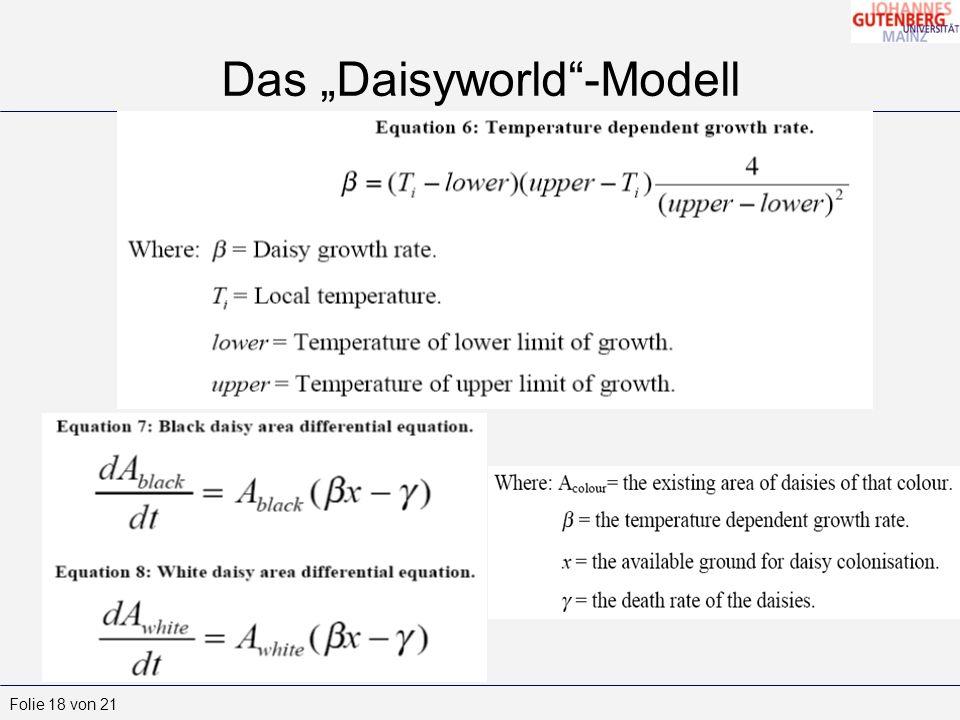 Folie 18 von 21 Das Daisyworld-Modell