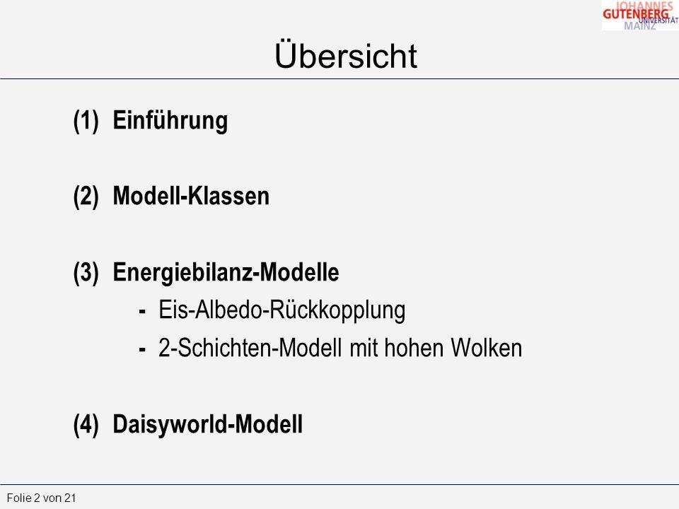 Folie 2 von 21 (1)Einführung (2)Modell-Klassen (3)Energiebilanz-Modelle - Eis-Albedo-Rückkopplung - 2-Schichten-Modell mit hohen Wolken (4)Daisyworld-Modell Übersicht