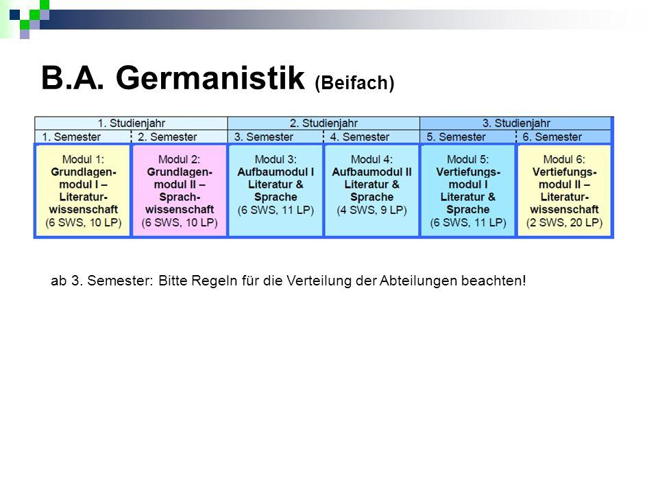 B.A. Germanistik (Beifach) ab 3. Semester: Bitte Regeln für die Verteilung der Abteilungen beachten!