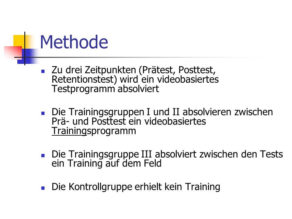 Methode Zu drei Zeitpunkten (Prätest, Posttest, Retentionstest) wird ein videobasiertes Testprogramm absolviert Die Trainingsgruppen I und II absolvie