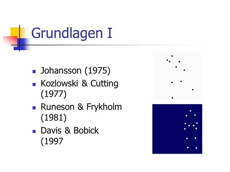 Grundlagen I Johansson (1975) Kozlowski & Cutting (1977) Runeson & Frykholm (1981) Davis & Bobick (1997