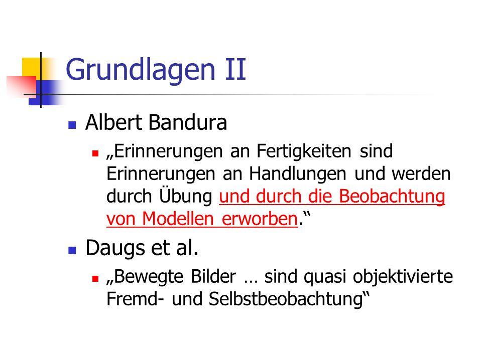 Grundlagen II Albert Bandura Erinnerungen an Fertigkeiten sind Erinnerungen an Handlungen und werden durch Übung und durch die Beobachtung von Modelle
