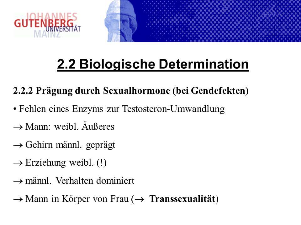 2.2 Biologische Determination 2.2.2 Prägung durch Sexualhormone (bei Gendefekten) Fehlen eines Enzyms zur Testosteron-Umwandlung Mann: weibl. Äußeres