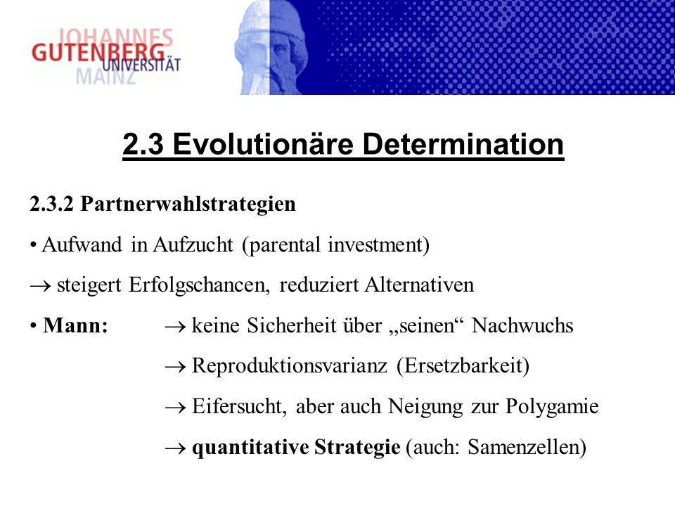 2.3 Evolutionäre Determination 2.3.2 Partnerwahlstrategien Aufwand in Aufzucht (parental investment) steigert Erfolgschancen, reduziert Alternativen M