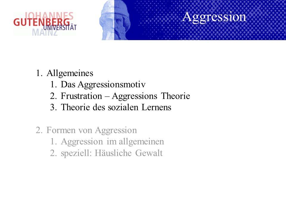 1.Allgemeines 1.Das Aggressionsmotiv 2.Frustration – Aggressions Theorie 3.Theorie des sozialen Lernens 2.Formen von Aggression 1.Aggression im allgem