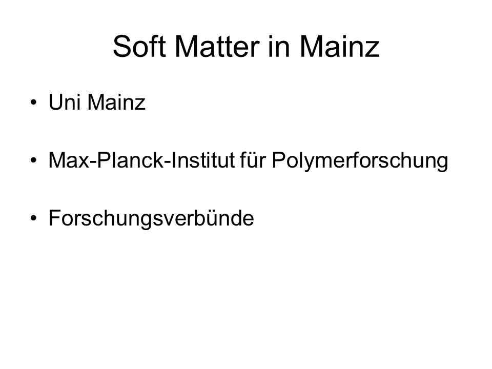 Soft Matter in Mainz Uni Mainz Max-Planck-Institut für Polymerforschung Forschungsverbünde